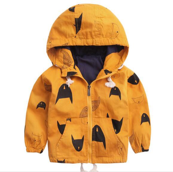 2018 весна детская одежда пальто для мальчиков Повседневная теплая печати плотным ворсом с капюшоном детские пальто для мальчиков детские па...