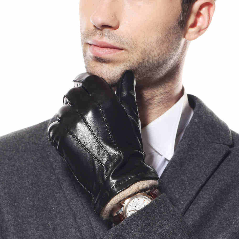 Black gloves online - Fashion Men Genuine Sheepskin Gloves Knitting Lining Black Wrist Leather Glove For Male Winter Warm Sale