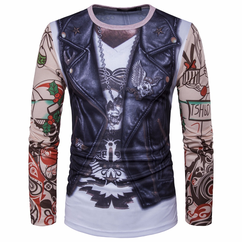 Hot New Tops tees 2017 men t shirt style 3 d leather vest tattoo arm printing men long sleeve t-shirt collar Casual t-shirt men