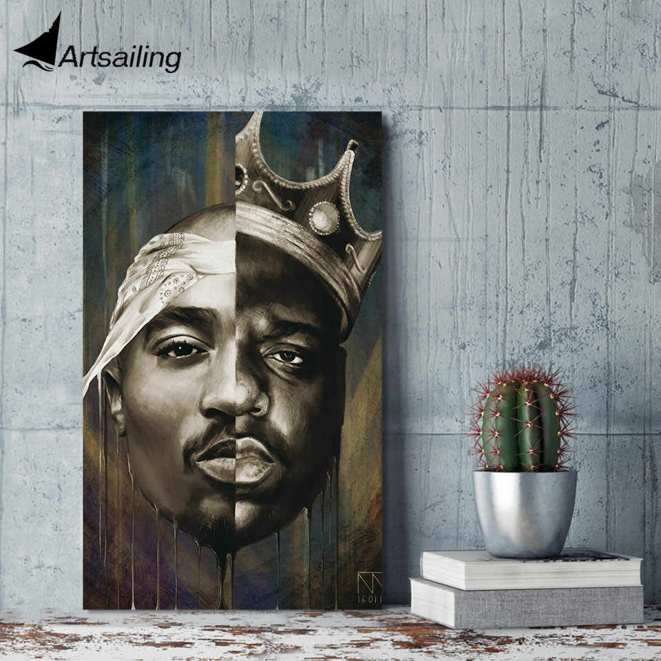 ArtSailing 1 piece canvas art HD print tupac and biggie painting home decor wall pictures for living room free shipping UP-2121C