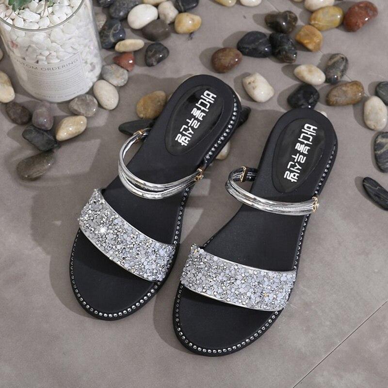 SHUJIN 2019 New Women Flats Sandals Women Summer Women Shoes Bohemia Style Flip Flops Beach Shoes Women's Beach Slipper