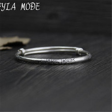 Fyla Mode 999 Sterling Silver Carved Flower Bangle Handmade Thai Silver Women Men Jewelry Bangle Size Adjustable WT023