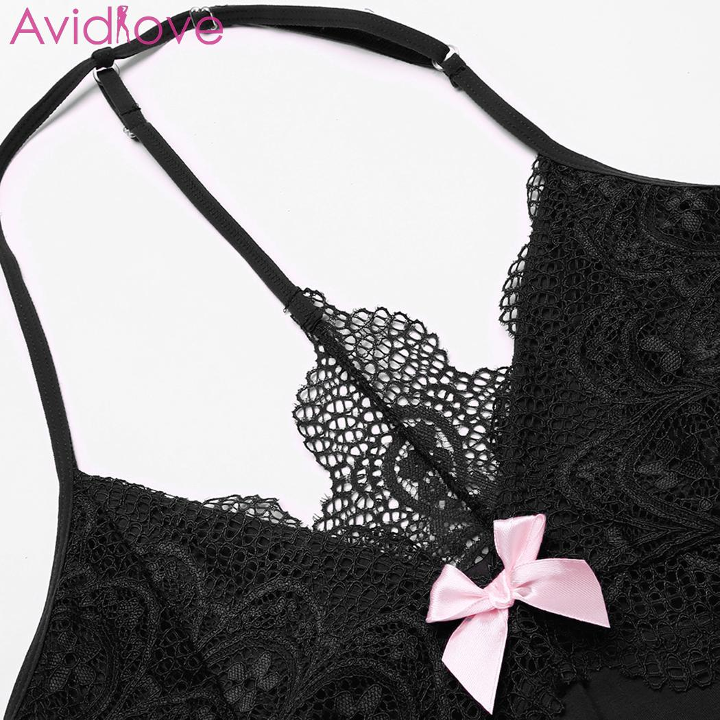 eb83b89be7 Avidlove women nighr dress nighty sleepwear sexy lingerie babydoll chemise  lace patchwork nightwear with g-string