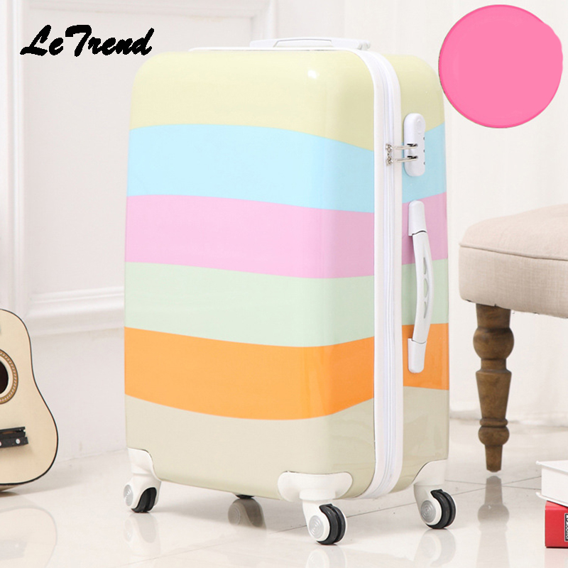 Letrend Creative Student Rolling Luggage Spinner Women Trolley Suitcase Wheels 20 inch Carry On Travel Bag Hardside Trunk vintage suitcase 20 26 pu leather travel suitcase scratch resistant rolling luggage bags suitcase with tsa lock