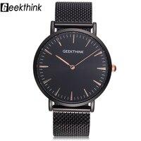 GEEKTHINK Men Watch Top Luxury Brand Quartz Watch Men Casual Sport Wristwatch Stainless Steel Ultra Thin