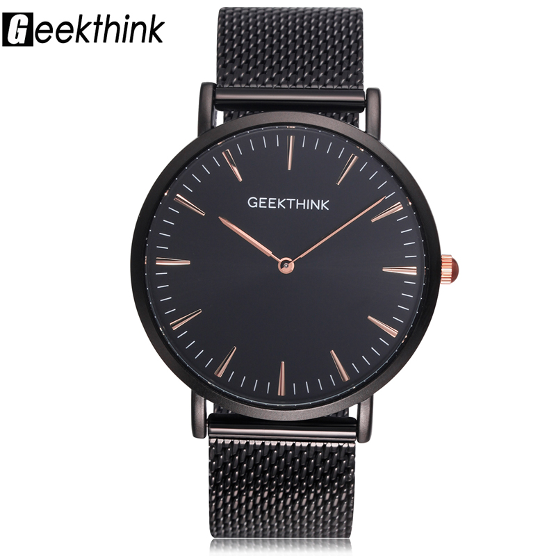GEEKTHINK Men Watch Top Luxury Brand Quartz Watch Men Casual Sport Wristwatch Stainless Steel Ultra Thin Clock Male Relogio famous brand role luxury men watch quartz sport watch men stainless steel wristwatch male clock waterproof relogio masculino new