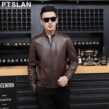 Ptslan Men's Genuine Leather Jacket Real Lambskin Coat