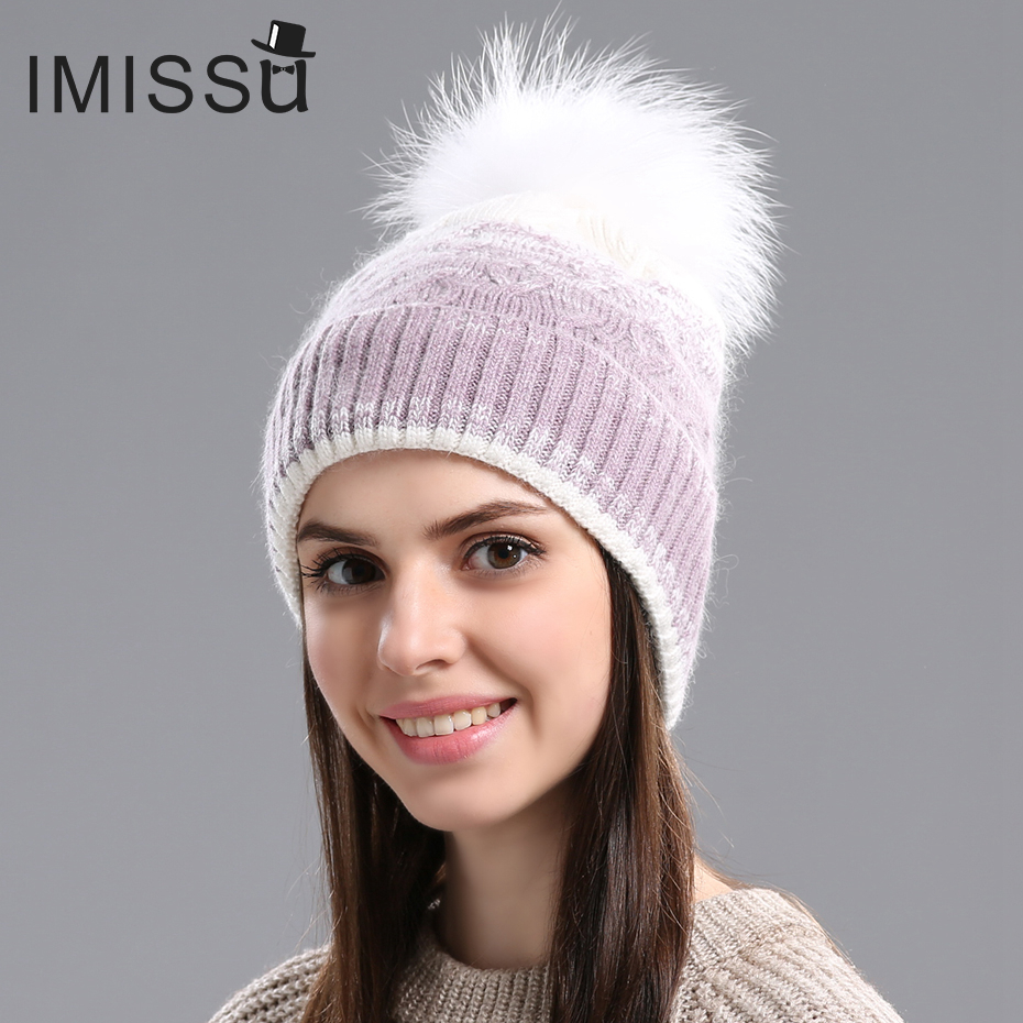 IMISSU Winter Hats for Women Knitted Wool Beanie Cap Real Raccoon Fur Pom Pom Hat Female Casual Outdoor Thick Warm Skullies autumn winter hats for women knitted beanie hat pom pom cap wool hat with real raccoon fur pompom female skullies beanie hats