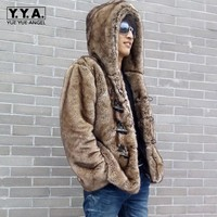 Marca de topo Mens Vogue Fashion Faux Coelho Casaco De Pele Engrossar Algodão Acolchoado Com Capuz Duffel/Alternar Parka Inverno Para O Homem casacos masculinos|faux fur coat men|mens rabbit fur coat|mens faux fur coats -