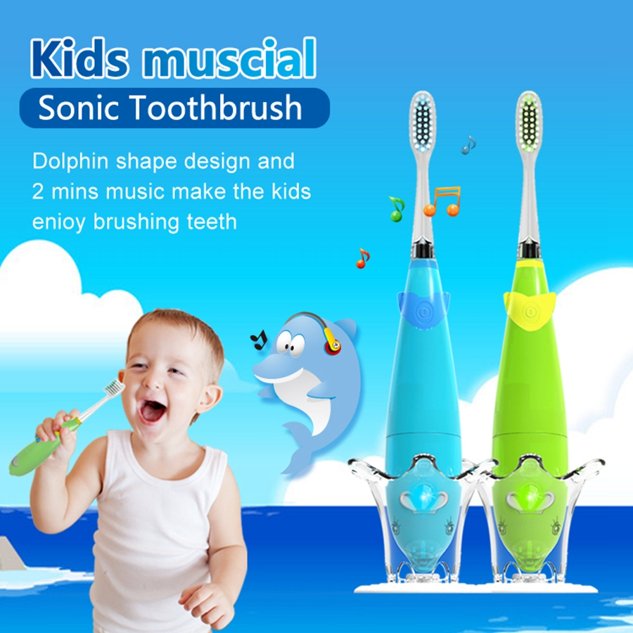 Seago Extra Soft Bristle Electric Toothbrush For Kids Dupont Teeth Brush Head With Music Safe Healthy Best Buy Birthday Gift image