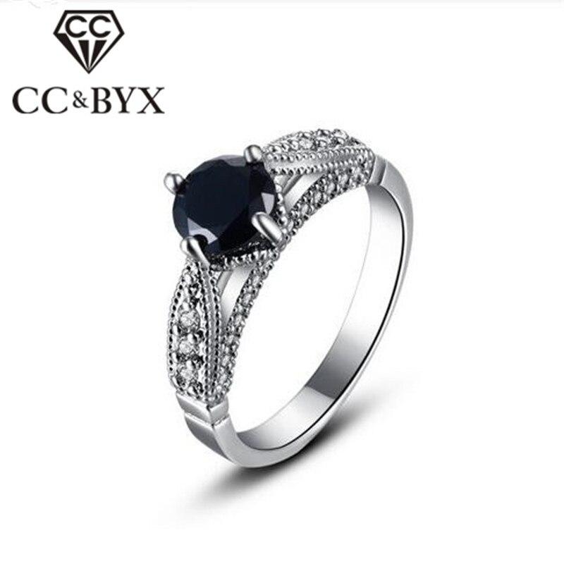 Black Stone Ring For Women White Gold Color Women Rings