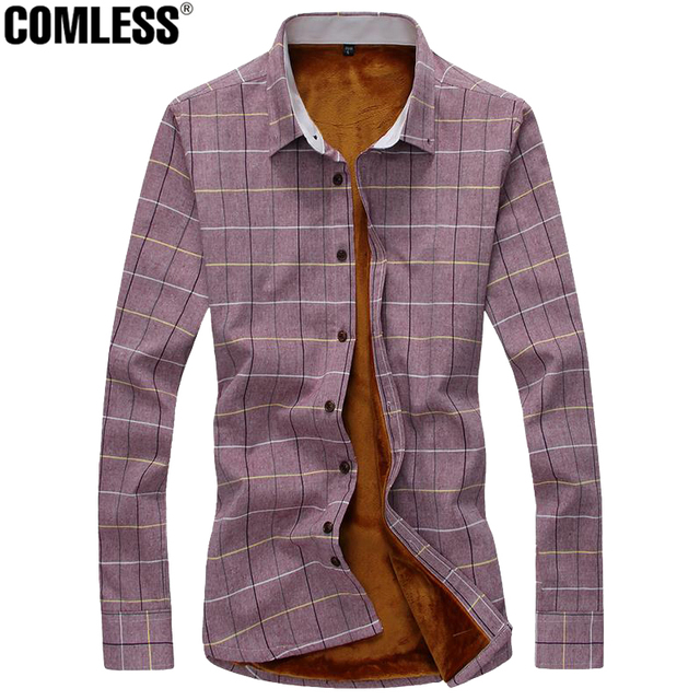 2017 New Autumn Winter Cotton Shirt Men Casual Fleece Line Camisa Plaid Slim Fit Social Gray Blue Plaid Dress Shirts Size M-5XL