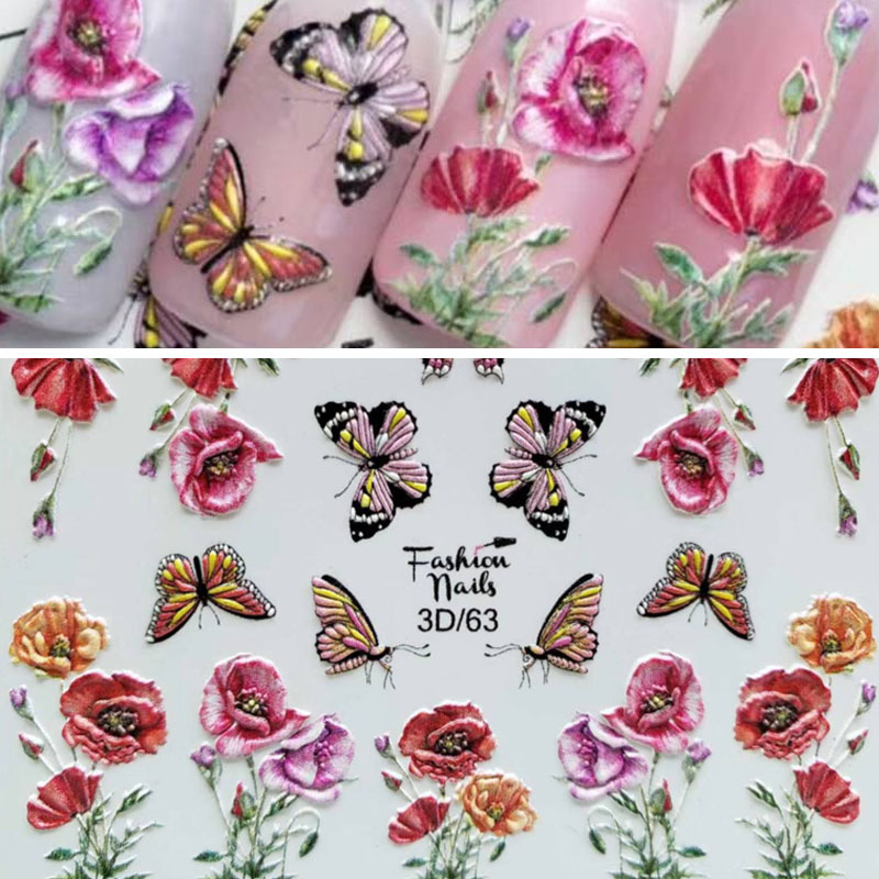 3D Acrylic Engraved Natural Bee Nail Sticker Nail Water Decals Fashion Empaistic Nail Water Slide Decalsi