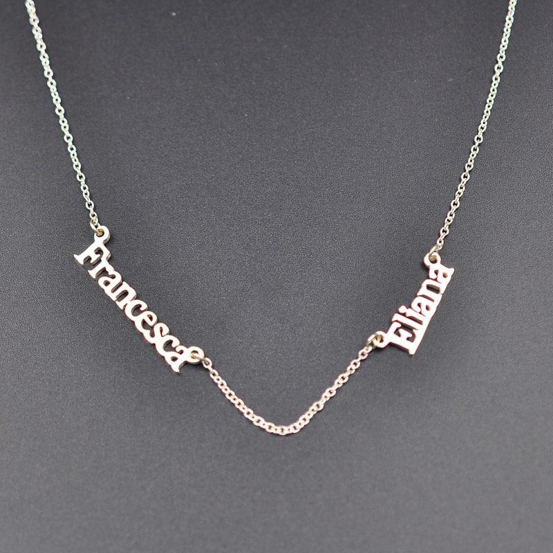 Deux Mini plaque signalétique collier personnalisé nom Double pendentifs personnalisé maman et enfants collier cadeau de noël