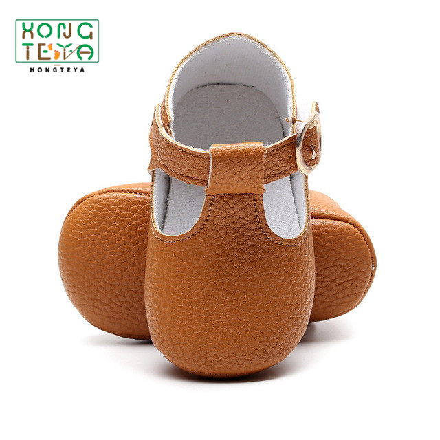 Dropshipping PU Leather Mary Jane Soft Sole Baby Girls Shoes T-strap Leather Shoes Infants Toddler Baby Boy Moccasin Newborn Crib Shoes