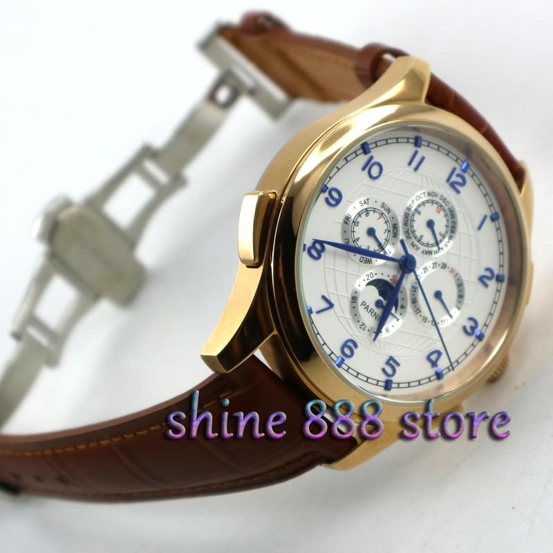 Parnis 44 мм белый циферблат, розовое золото, корпус, фазы Луны, многофункциональная застежка, автоматический механизм, мужские часы