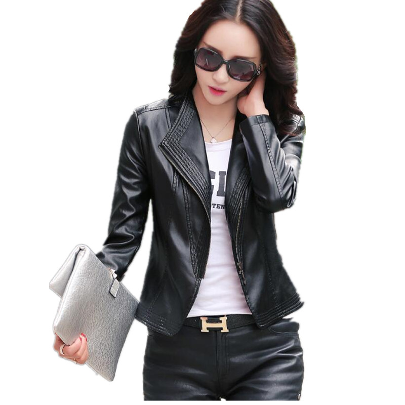 Long sleeve casual   leather   jackets women 2018 spring and autumn   leather   clothing female slim motorcycle   leather   coat black plus