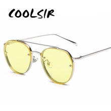 COOLSIR Brand Design New Fashion Sunglasses Women Double Beam Round Men Clear lens Vintage Glasses UV400