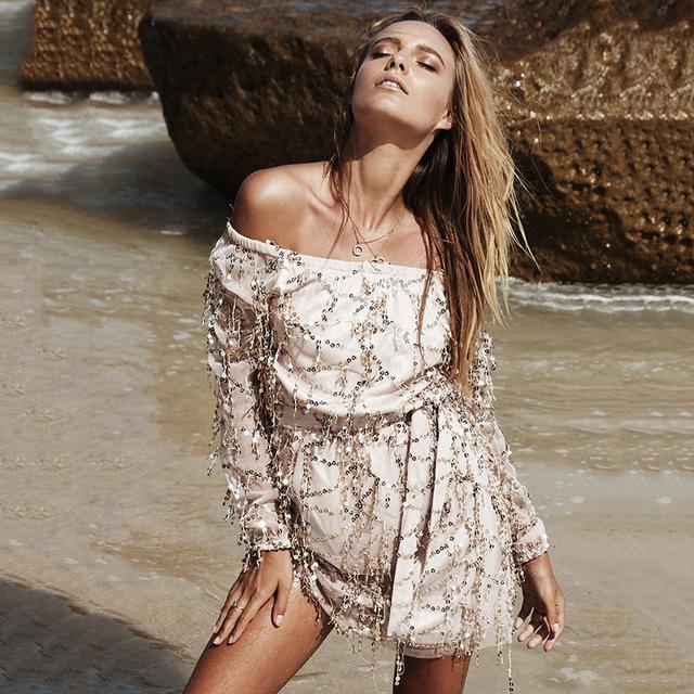Sexy Off Shoulder Summer Sequin Tassel Dress