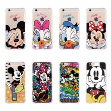 Cartoon Mickey Minnie Mouse Donald Daisy Duck Pooh Shockproof Case for iPhone 5 5S 6 6S Plus Cover Shell