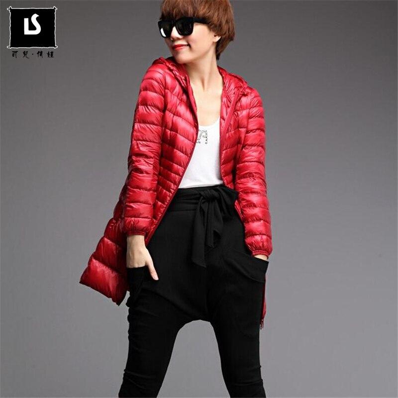 S-7XL Hooded   Down   Jacket Female Overcoat Ultralight Winter   Down     Coat   Women Long Warm Slim Jackets   Coat   Portable Parkas Plus size