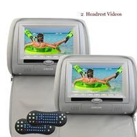 Hdデジタルワイドスクリーンツインヘッドレストビデオ車のusb sd cd dvdプレーヤーrca入力irトランスミッタとfmトランスミッター& irヘッドフォン