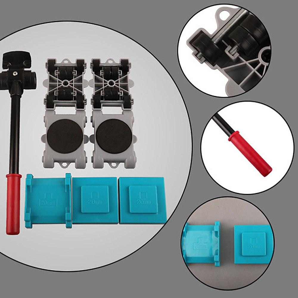 8 sztuk Home Trolley łatwy podnośnik do mebli Mover zestaw narzędzi ruchome suwaki zestaw zawód zestaw narzędzi Wheel Bar Mover urządzenie ręczne w Zestawy narzędzi ręcznych od Narzędzia na
