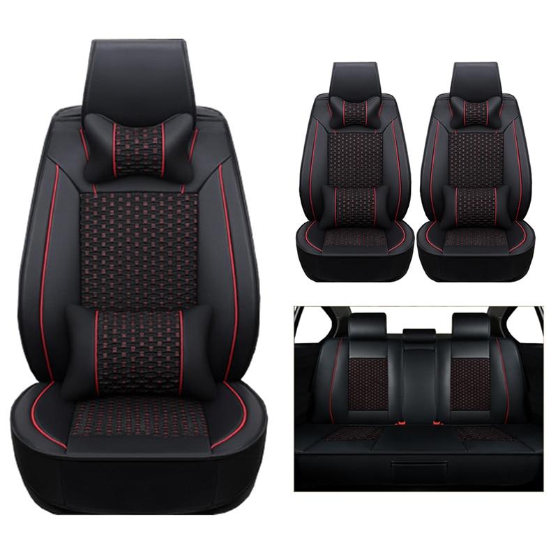 (Cuero + seda) coche Fundas de asientos para Volkswagen VW Passat B5 B6 Polo Golf Tiguan 5 6 7 Jetta Touran Touareg coches accesorios-agujas