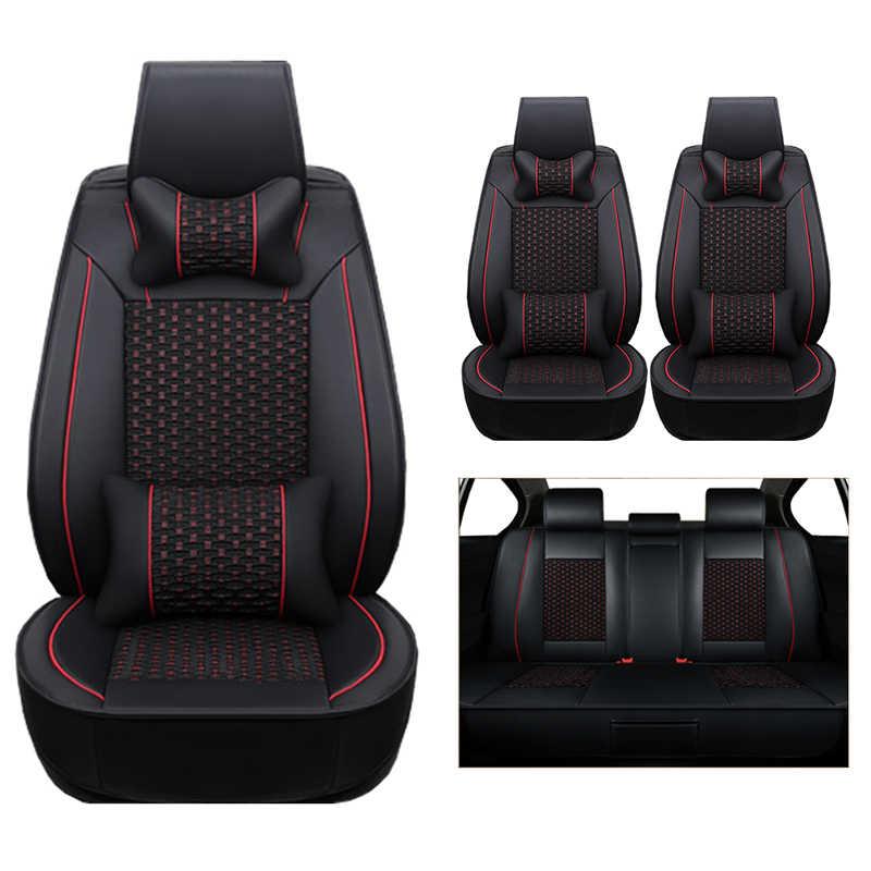 (جلد + حرير) يغطي مقعد السيارة لفولكس واجن فولكس فاجن باسات b5 b6 بولو جولف تيجوان 5 6 7 جيتا توران طوارق اكسسوارات السيارات-styli