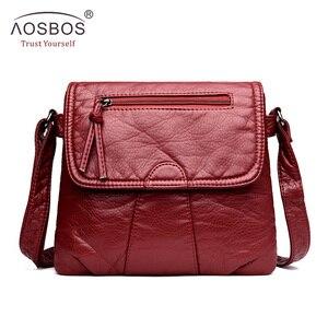 Image 2 - Aosbos小さな女性メッセンジャーバッグ洗浄puレザークロスボディハンドバッグ2019デザイナー女性のショルダーバッグbolsas