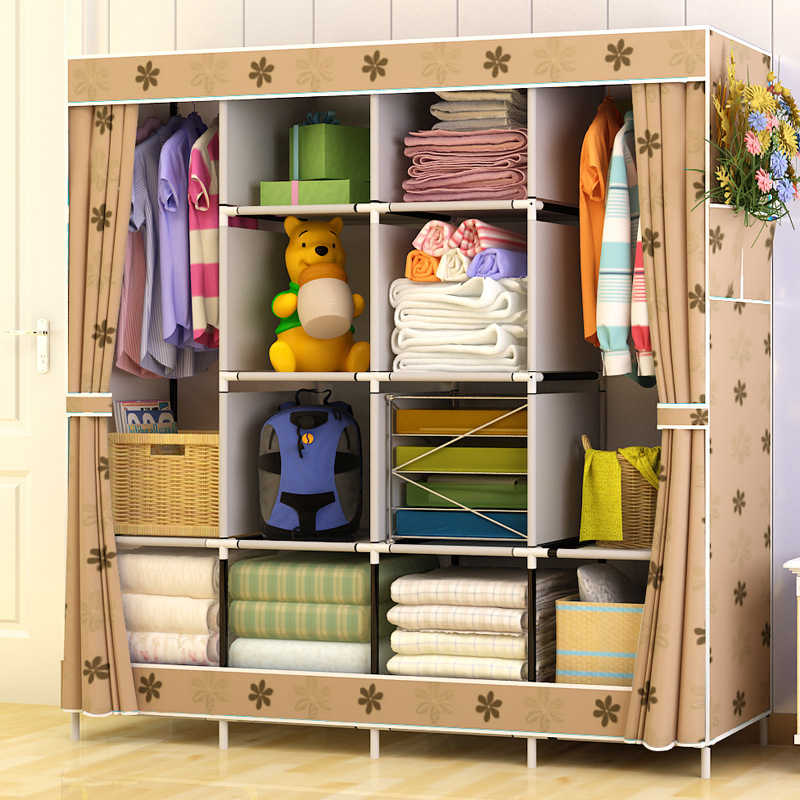 Large Capacity Multi-function Cloth Wardrobe Fabric Folding Clothing Storage Cabinet DIY Assembly Reinforcement Wardrobe Closet