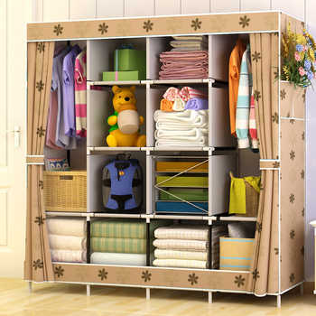 Large Capacity Multi-function Cloth Wardrobe Fabric Folding Clothing Storage Cabinet DIY Assembly Reinforcement Wardrobe Closet - DISCOUNT ITEM  55% OFF All Category