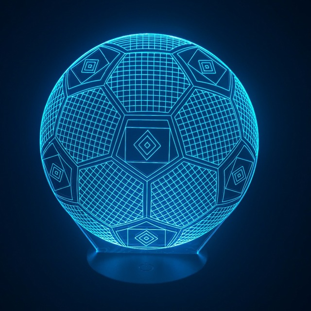 Good RGB Soccer Lamp USB 3D Visual Light Luminaria Bedroom Night Lamp 7 Colors  Change Illusion Football