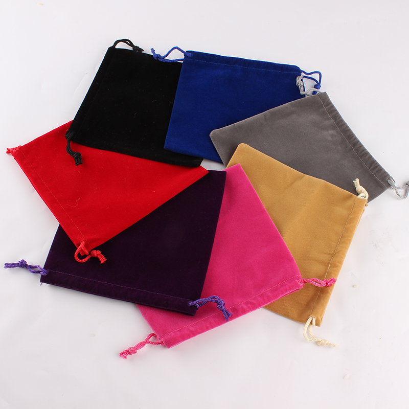 100pcs/Lot 15*15cm Customized Logo Mixed-Color Printed Wedding Velvet Drawstring Pouch Packing Bags