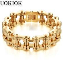 Men's Bracelet Stainless Steel Men Bracelet Male Gold Color Bicycle Motorcycle Chain Link Bracelets For Men Biker Jewelry Heavy цены онлайн