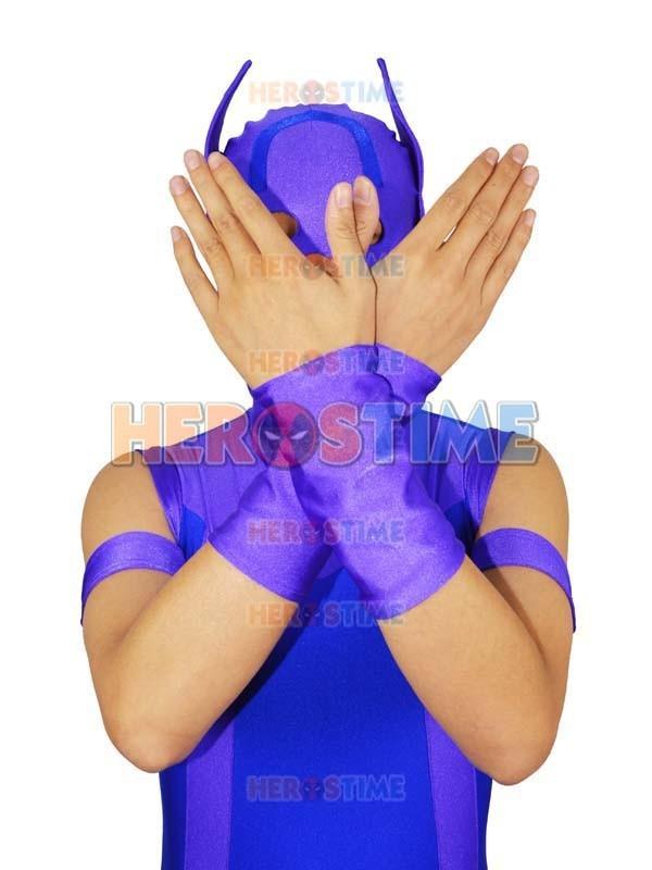Avengers Hawkeye Costume Spandex Purple & Blue Avengers Hawkeye - Կարնավալային հագուստները - Լուսանկար 4