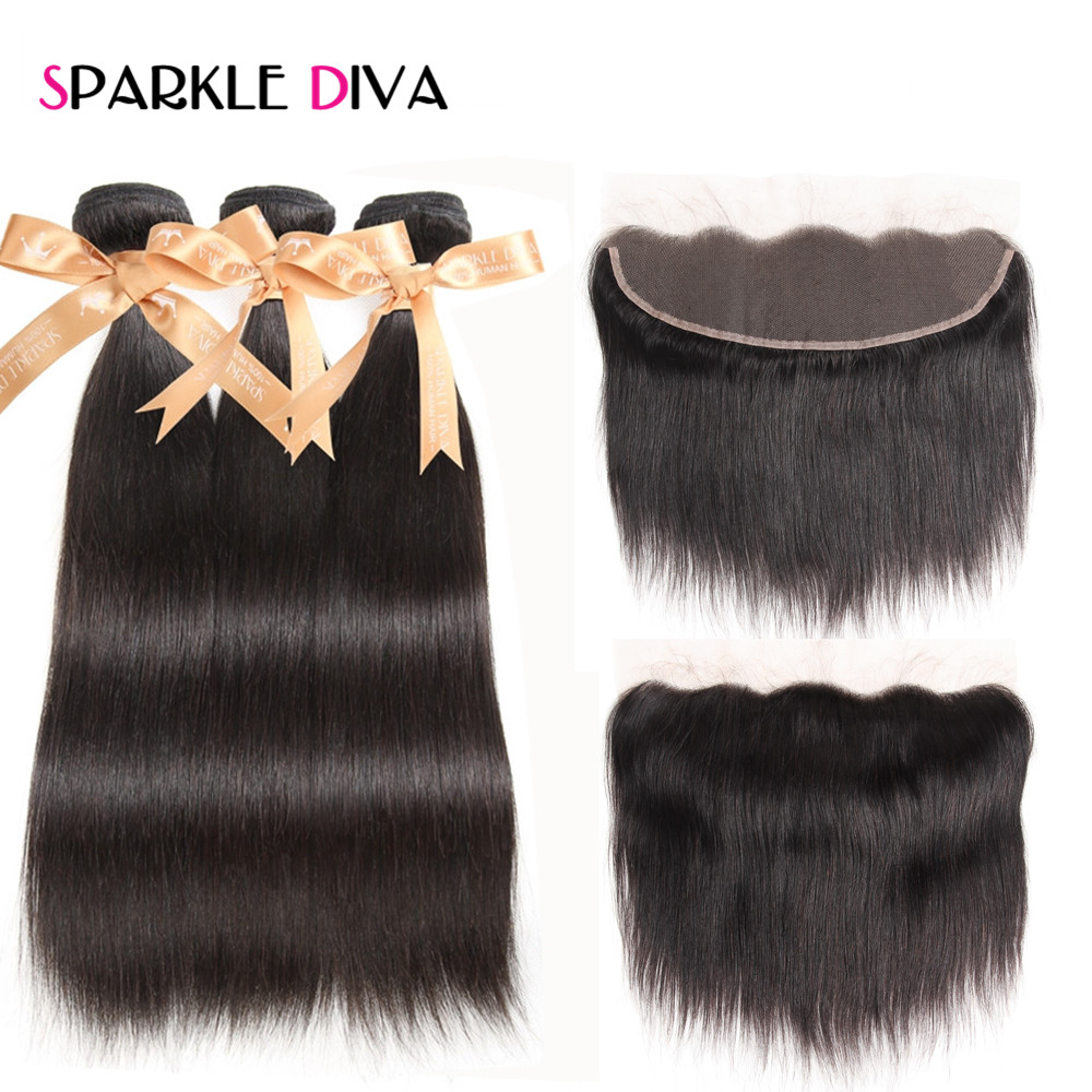 Sparkle Diva Ear To Ear Lace Frontal Closure With Bundles Straight Brazilian Human Hair With Frontal Closure Free Part Non Remy