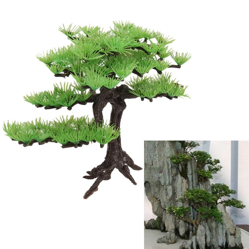 Plastic rockery bonsai artificial plant pine tree fish for Fish tank tree