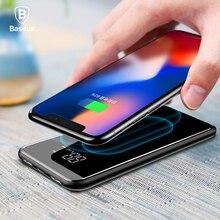 Baseus LCD 8000 mAh QI kablosuz şarj 2A çift USB güç bankası iPhone X 8 Samsung S9 pil şarj 5 W kablosuz şarj ped