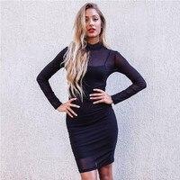 Women S Dress 2017 Spring Summer Dress High Neck Womens Lace Bodycon Long Sleeve Dress Black