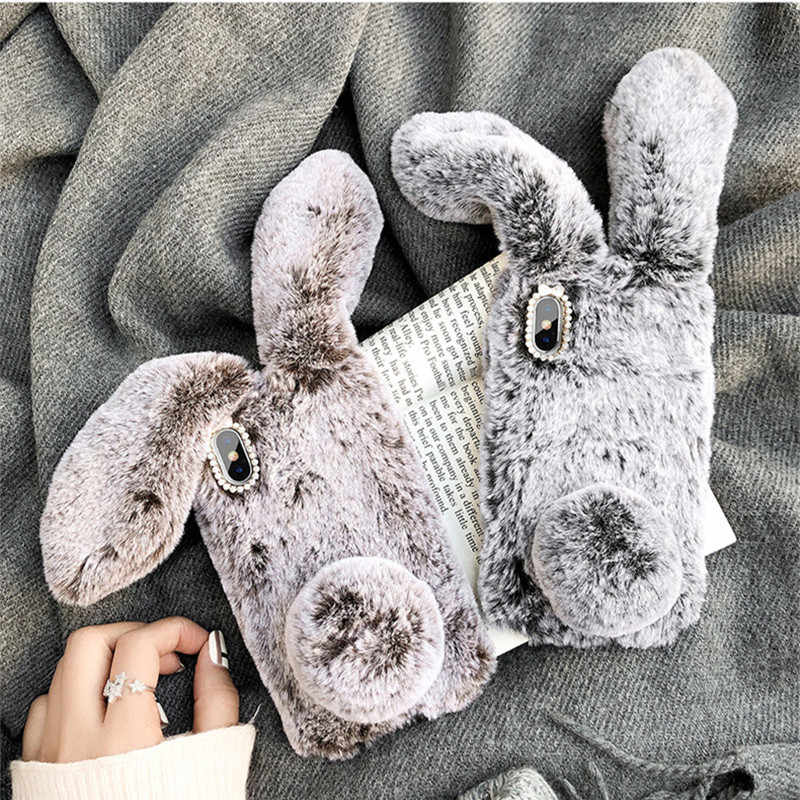 ヌビア Z18 lite かわいいふわふわウサギの毛の毛皮カバーケース Coque ため ZTE ヌビア N1 N2 N3 M3 M3 Z9 z11 Z17 ミニブレード V7 lite Axon 7 7s