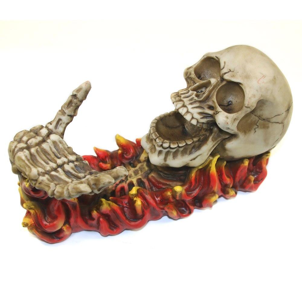 1Piece Flaming Skeleton Skull Figurine Wine Bottle Holder Kitchen Decor Evil Skull Rising From Flames Wine
