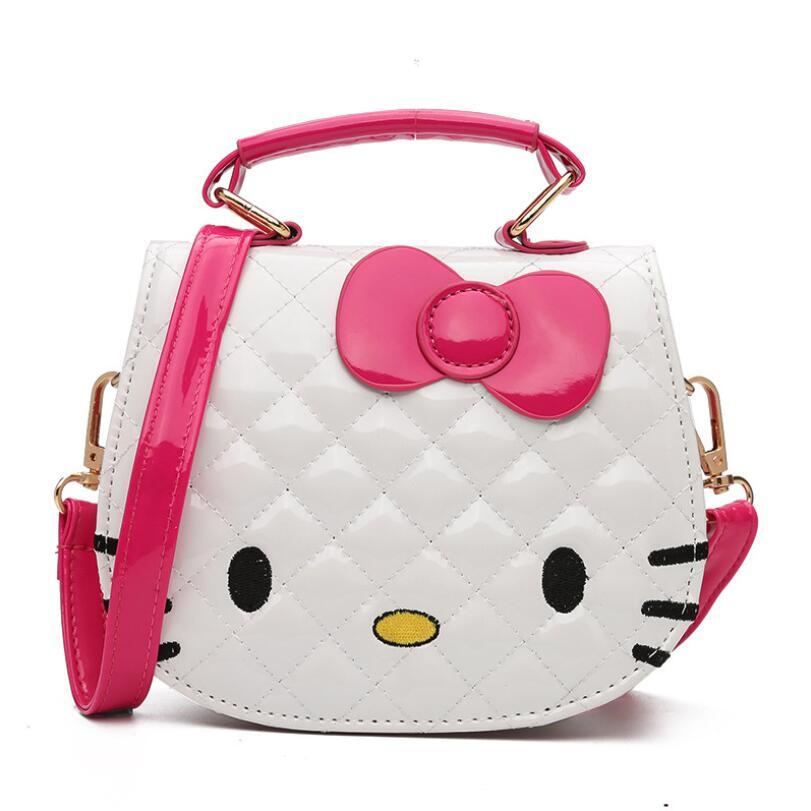 cf67efbc3eb1 Cartoon Hello kitty Bowknot Girls Handbag Kids Tote Toys Girls Bag PU  Leather Plush Backpack Best