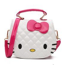 435587e847b4 Cartoon Hello kitty Bowknot Girls Handbag Kids Tote Toys Girls Bag PU  Leather Plush Backpack Best