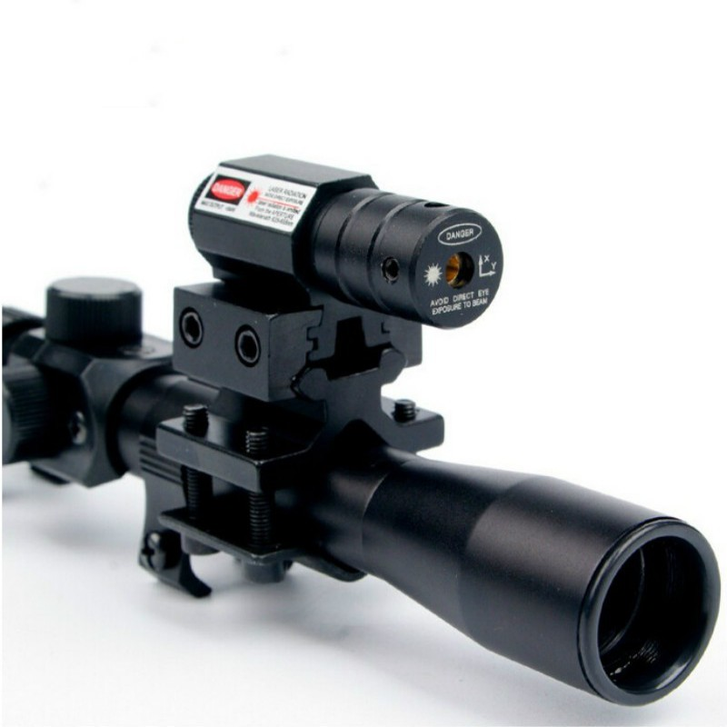 4x20 Hunting Optics Red Green Mil Dot Reticle Scope Combo of 11mm Mount for 22Compact Tactical Sights With Sun Shade