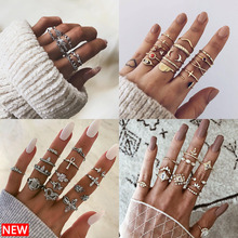 VKME conjunto de anillo bohemio para mujer, regalo de joyería, anillo de ópalo 2019, conjunto de anillo Vintage de cristal