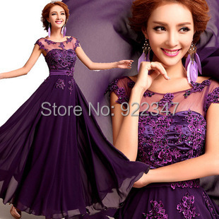 2015long dresses elegant appiques long bridesmaid Floor Length A-line beading women chiffon dress - E-Fashion Men store