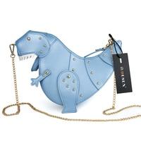 Blue Rivets Dinosaur Women Handbags Cartoon Chains Shoulder Crossbody Bags For Women Bag 2019 Solid Purse Design Messenger Bag