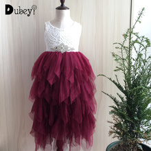 Xmas kids girls tutu long dress children princess burgundy color lace maxi dress toddler baby First Christmas party dress цена в Москве и Питере