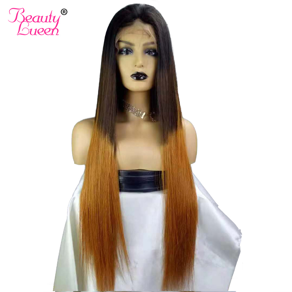 "T1b/4/30 Longer 28"" 8"" 13x4 Silky Straight Lace Front Human Hair Wigs With Baby Hair Bleached Knot Ombre Peruvian Remy Hair Wig"